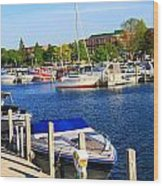 Boats On The Dock Traverse City Wood Print