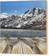 Boats On The Shore Wood Print