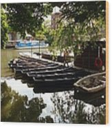 Boats On The Thames River Oxford England Wood Print