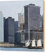 Boats - Schooner Against The Manhattan Skyline Wood Print