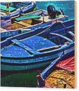 Boats Snuggling - Sicily Wood Print