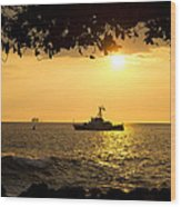 Boats Under The Hawaiian Sunset Wood Print