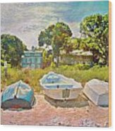 Boats Up On The Beach - Square Wood Print