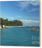 Boats With Beautiful Sea Wood Print by Boon Mee