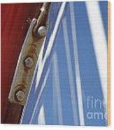 Boatyard Red White And Blue Wood Print