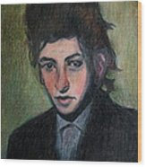Bob Dylan Portrait In Colored Pencil  Wood Print