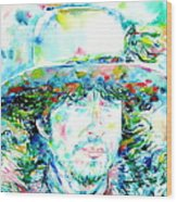 Bob Dylan - Watercolor Portrait.2 Wood Print