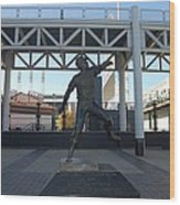 Bob Feller Bronze Statue Wood Print