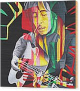 Bob Marley And Rasta Lion Wood Print