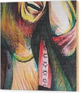 Bob Marley In Agony Wood Print