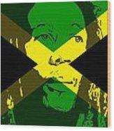 Bob Marley On Jamaican Flag Wood Print