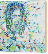 Bob Marley Playing The Guitar - Watercolor Portarit Wood Print