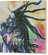Bob Marley Singing Portrait.1 Wood Print