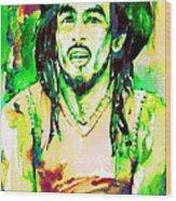 Bob Marley Watercolor Portrait.9 Wood Print