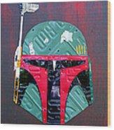 Boba Fett Star Wars Bounty Hunter Helmet Recycled License Plate Art Wood Print