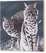Bobcats In The Hood Wood Print by DiDi Higginbotham