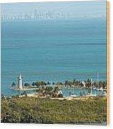Boca Chita Lighthouse And Miami Skyline Wood Print