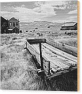 Bodie Ghost Town In Black And White Wood Print
