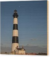 Bodie Island Lighthouse Moon Wood Print