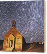 Bodie Star Trails Wood Print