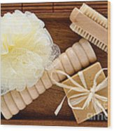 Body Care Accessories In Wood Tray Wood Print
