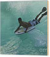 Body Surfer Wood Print