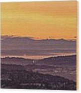 Boeing Seatac And Rainier Sunrise Wood Print
