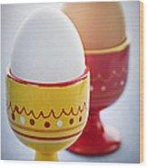 Boiled Eggs In Cups Wood Print by Elena Elisseeva