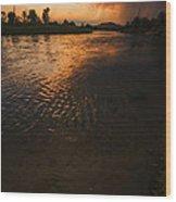 Boise River Dramatic Sunset Wood Print