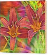 Bold And Beautiful Daylilies Wood Print