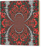 Tulips Kaleidoscope - Red And Green Wood Print