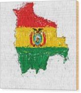 Bolivia Painted Flag Map Wood Print