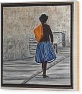 Bolivian Chola In Blue Skirt Wood Print by Marcella Haugaard