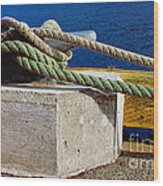Bollard Closeup - Ropes - Mooring Lines - Wharf Wood Print