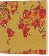 Bollywood Colors Awesome Paisley World Map Wood Print