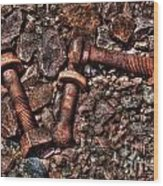Bolts In Gravel Wood Print