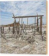 Bombay Beach Ruins Wood Print