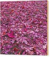 Pink Leaves Wood Print