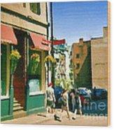Bonaparte 4 Star Classic French Resto Vieux Montreal Paris Style Bistro Paintings Carole Spandau Art Wood Print