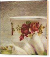 Bone China Teacup And Foxgloves Wood Print