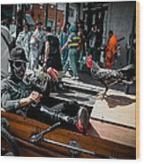 Bone Man And Rooster In Coffin Car On Mardi Gras In New Orleans Wood Print by Louis Maistros