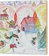 Bonnefemme De Neige / Snow Woman Wood Print