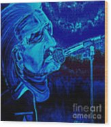 Bono In Blue Wood Print