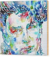 Bono Watercolor Portrait.1 Wood Print by Fabrizio Cassetta