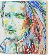 Bono Watercolor Portrait.2 Wood Print