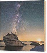 Bonsai Rock And Milky Way Wood Print