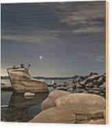 Bonsai Rock With Venus And Mars Wood Print