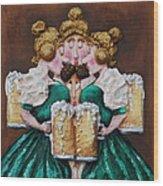 Boobies And Beer Wood Print by Alison  Galvan