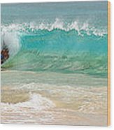 Boogie Board Surfing Wood Print