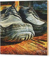 Boogie Shoes - Walking Story - Drawing Wood Print